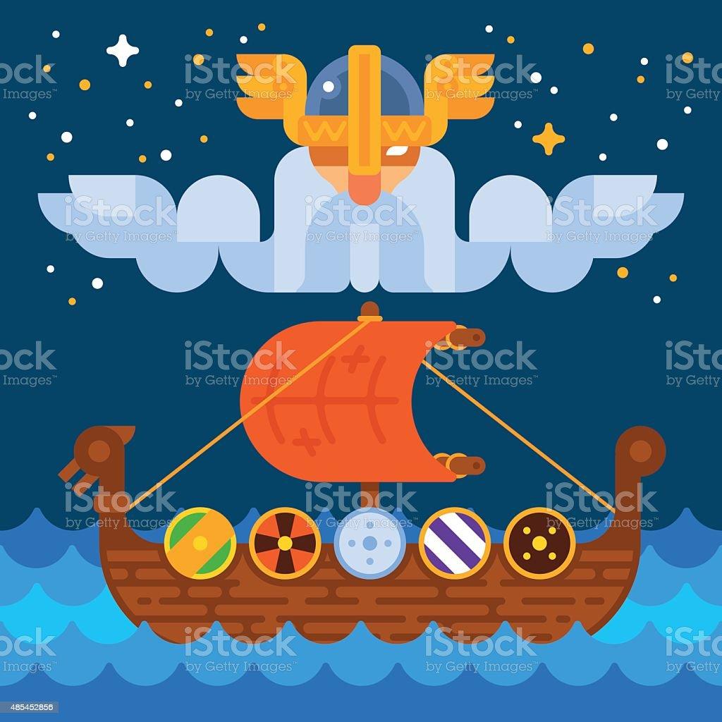 Viking Ship under Odin's Control vector art illustration
