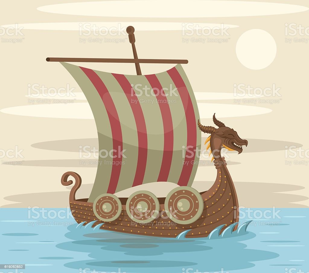 Viking ship. Vector flat cartoon illustration vector art illustration