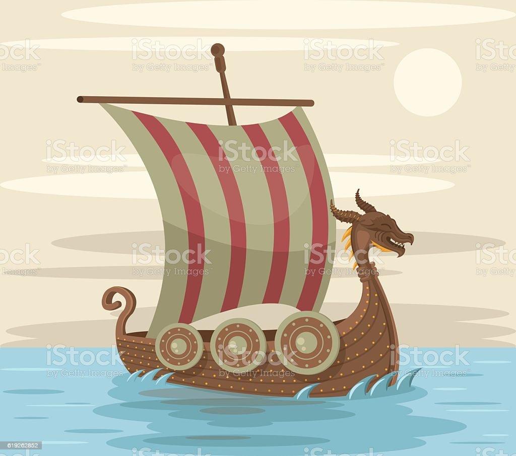 Viking ship. Vector flat cartoon illustration vector art illustration