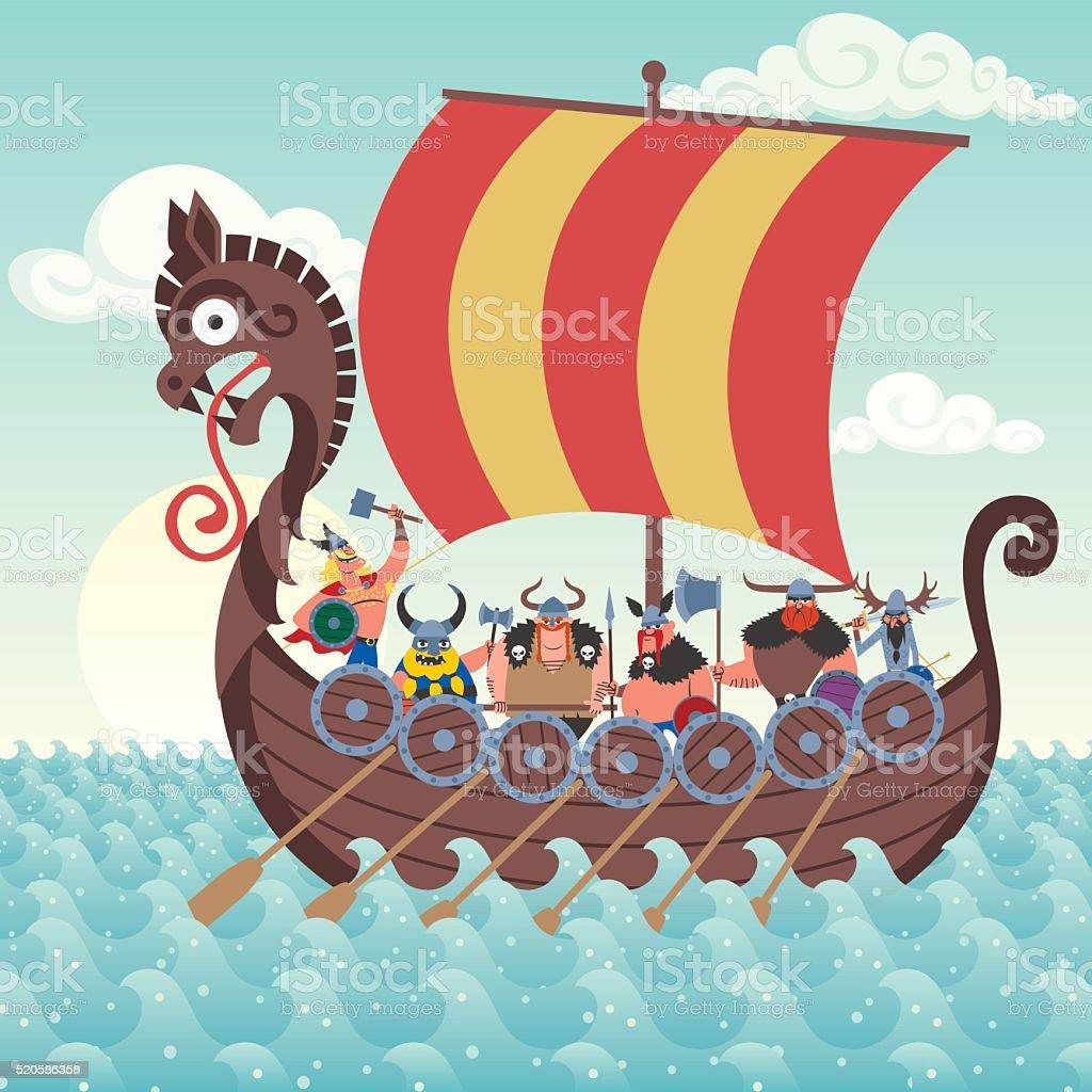 Viking Ship vector art illustration
