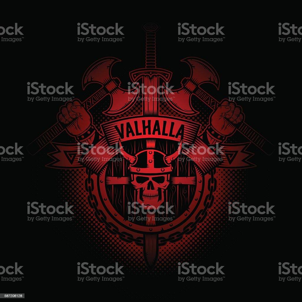 Viking Valhalla vector art illustration