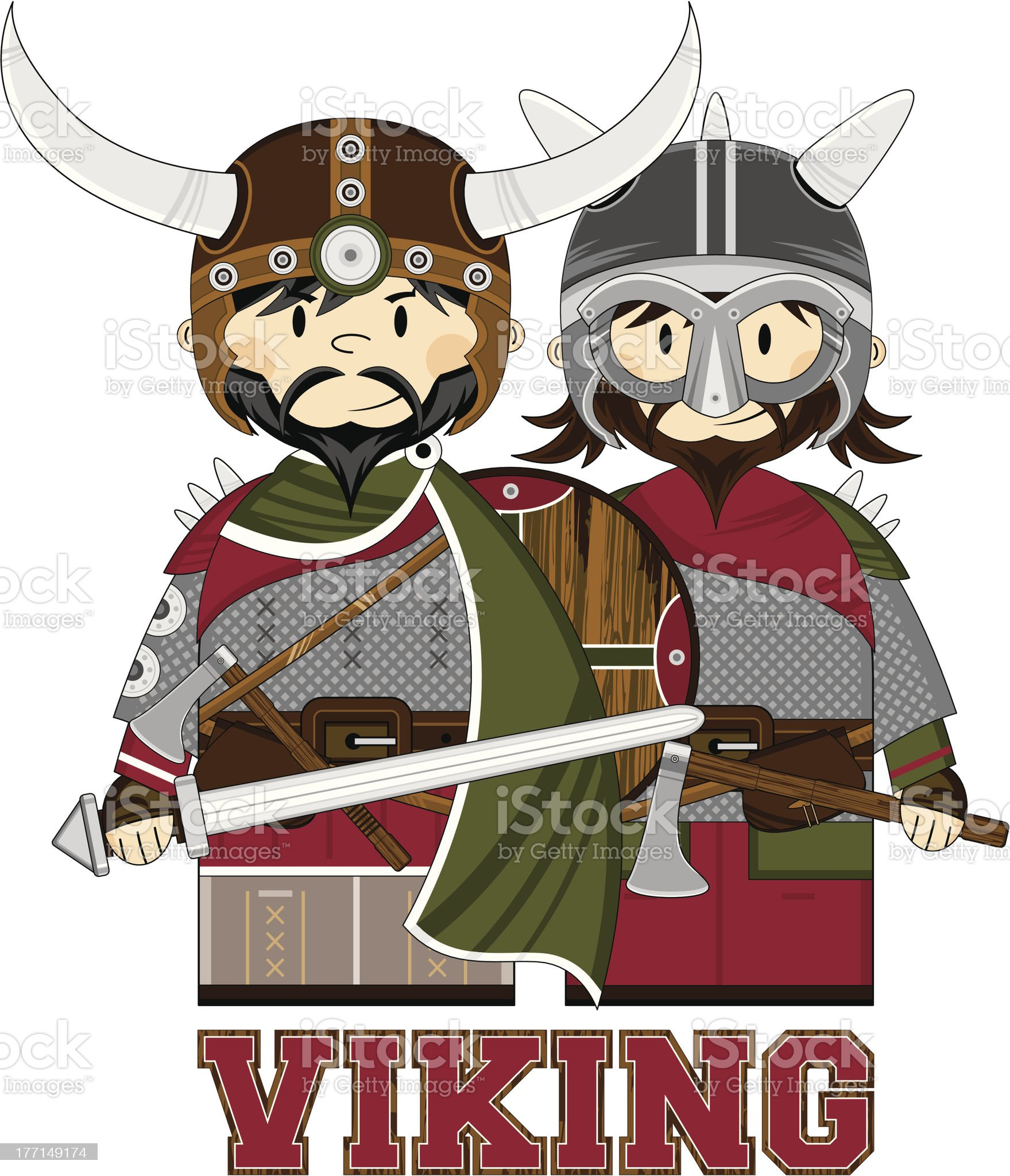 Viking Warrior Learn to Read Illustration royalty-free stock vector art