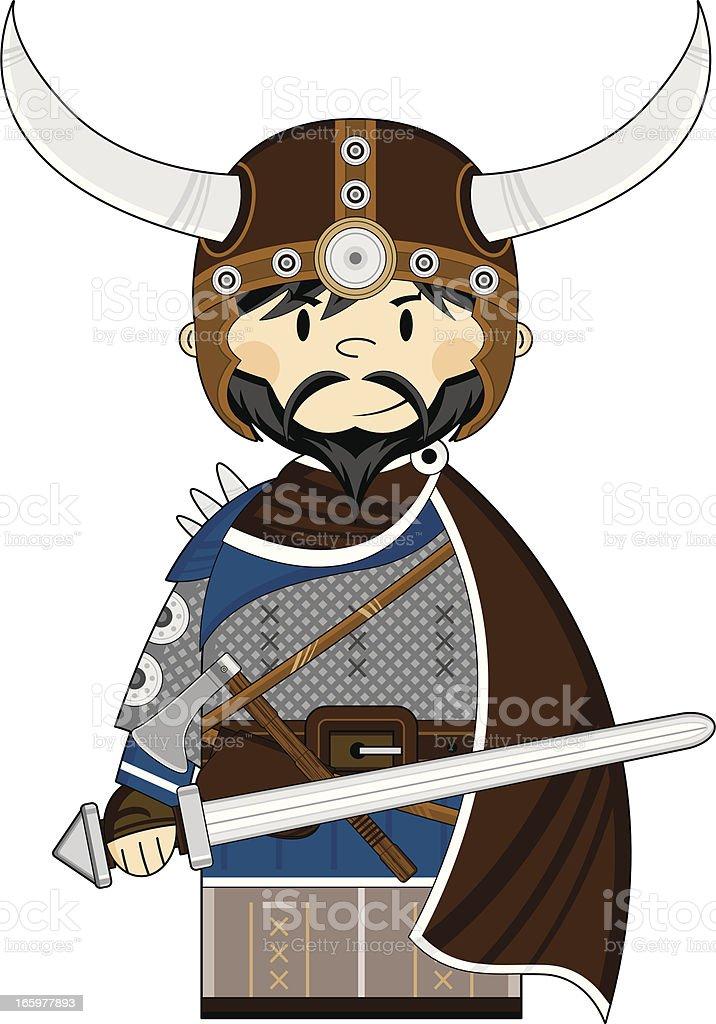 Viking Warrior with Sword vector art illustration