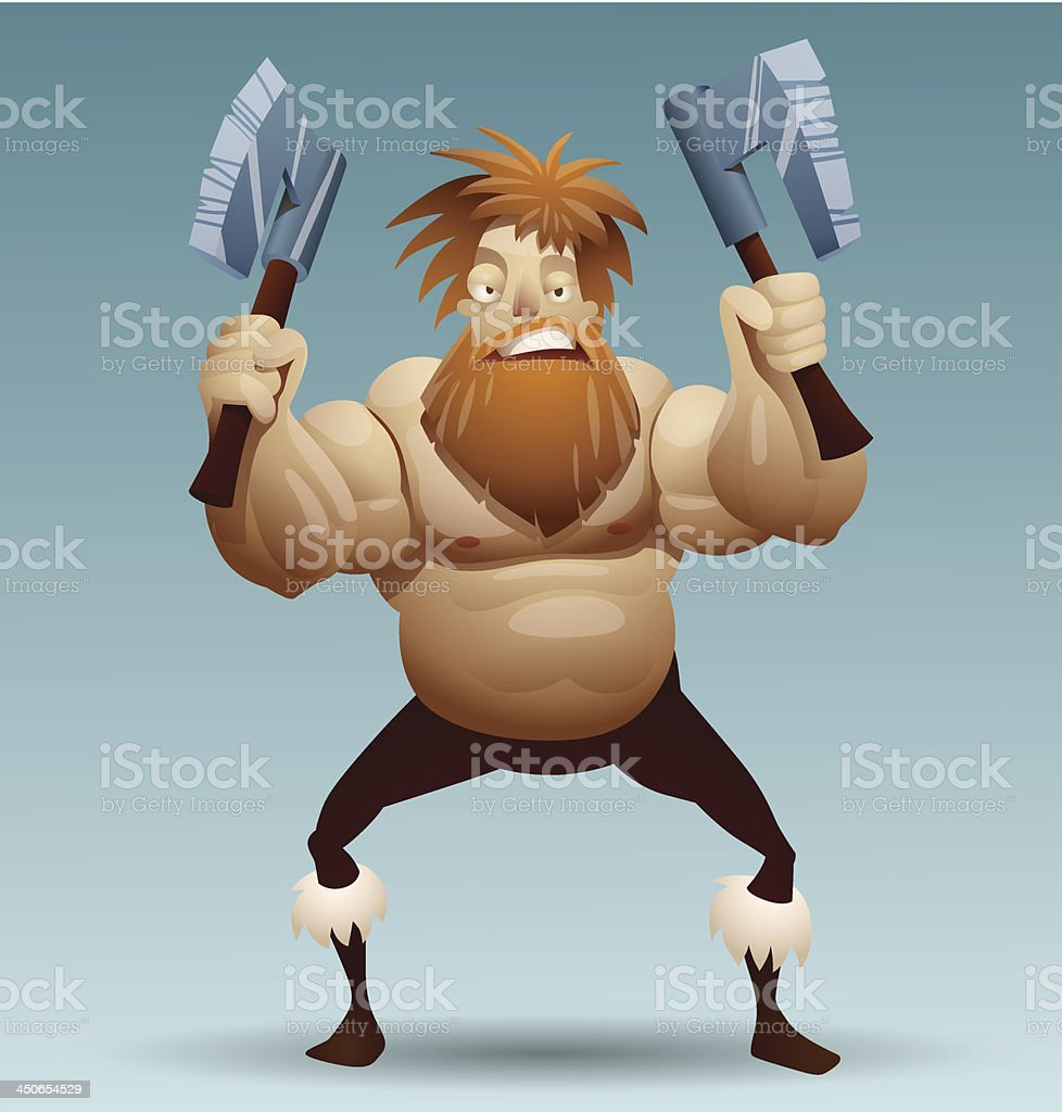 Viking warrior with two axes royalty-free stock vector art
