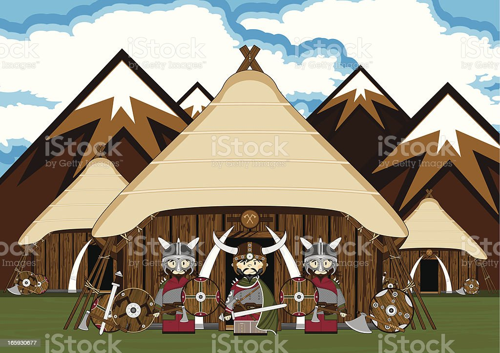 Viking Warriors Homestead Scene vector art illustration
