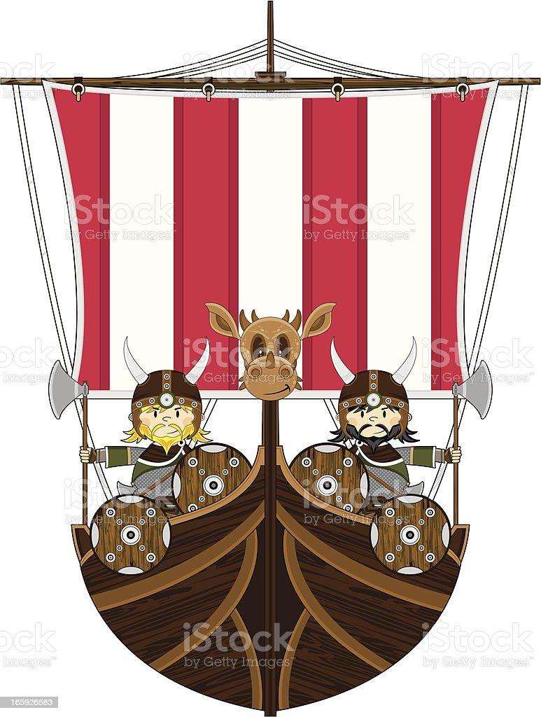 Viking Warriors on Warship vector art illustration