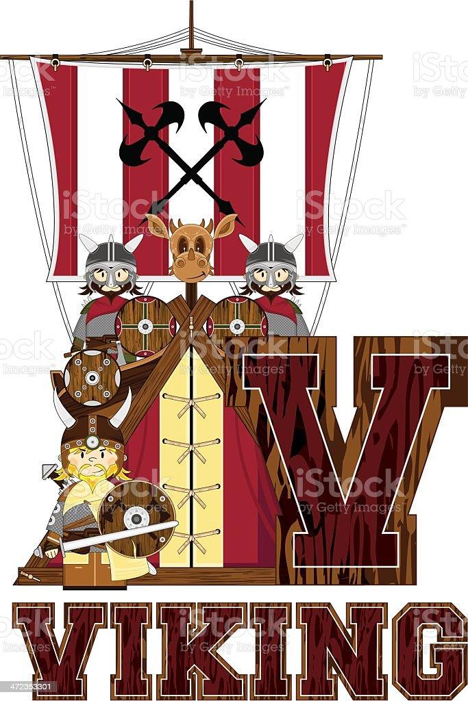 Viking Warriors & Ship Learning Letter V royalty-free stock vector art