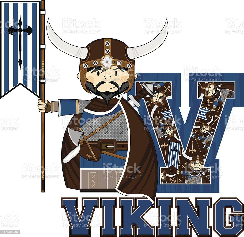 Viking with Banner Learning Letter V royalty-free stock vector art