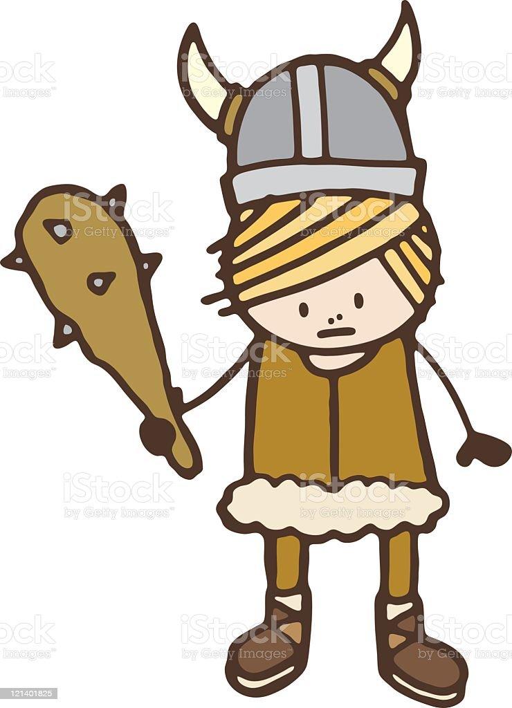 Viking with club vector art illustration