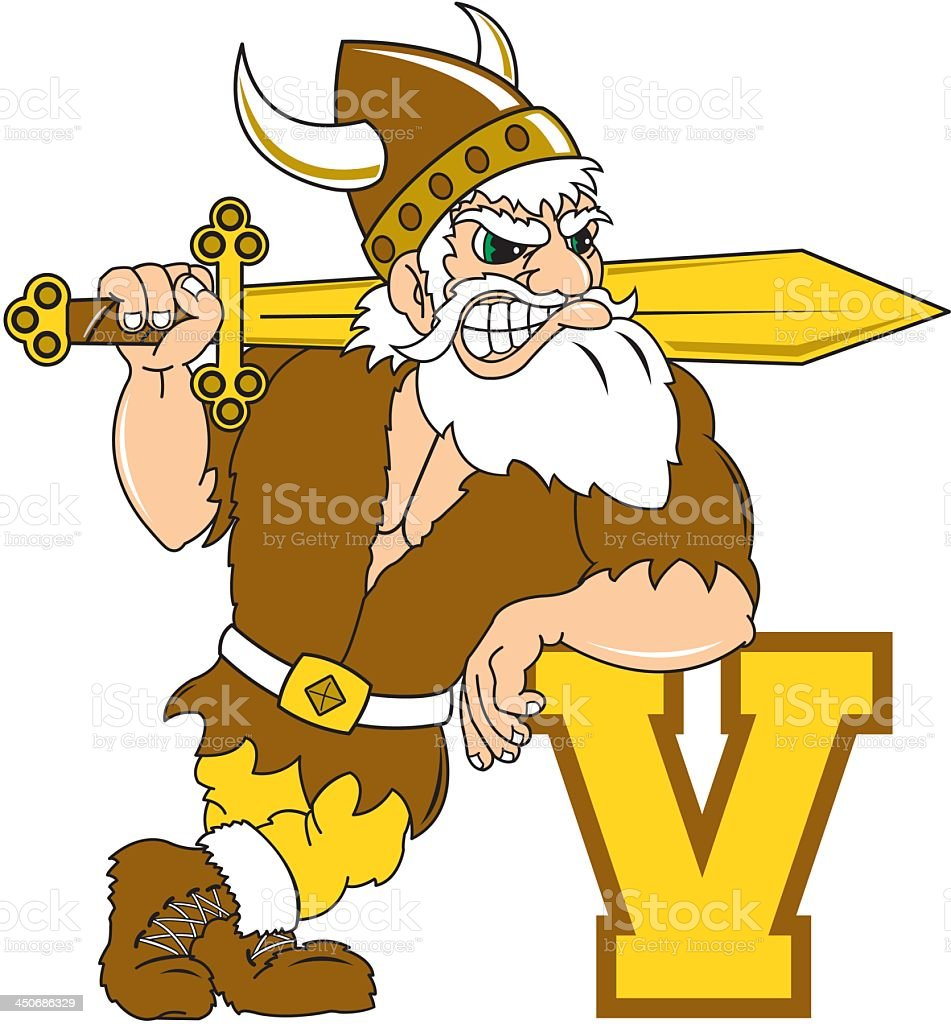 Viking With Letter V royalty-free stock vector art