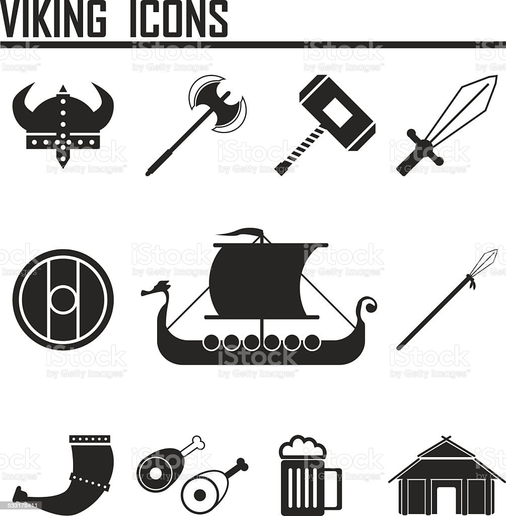 Vikings and Scandinavian items, the food, weapons flat icon set vector art illustration