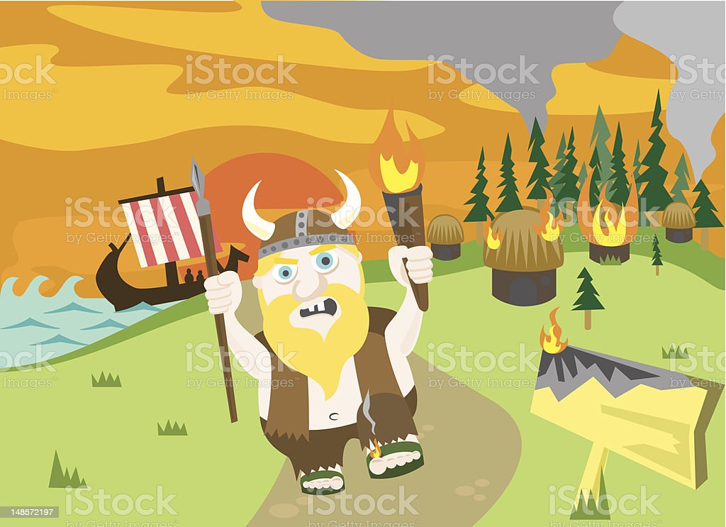 Vikings Do It With Fire vector art illustration