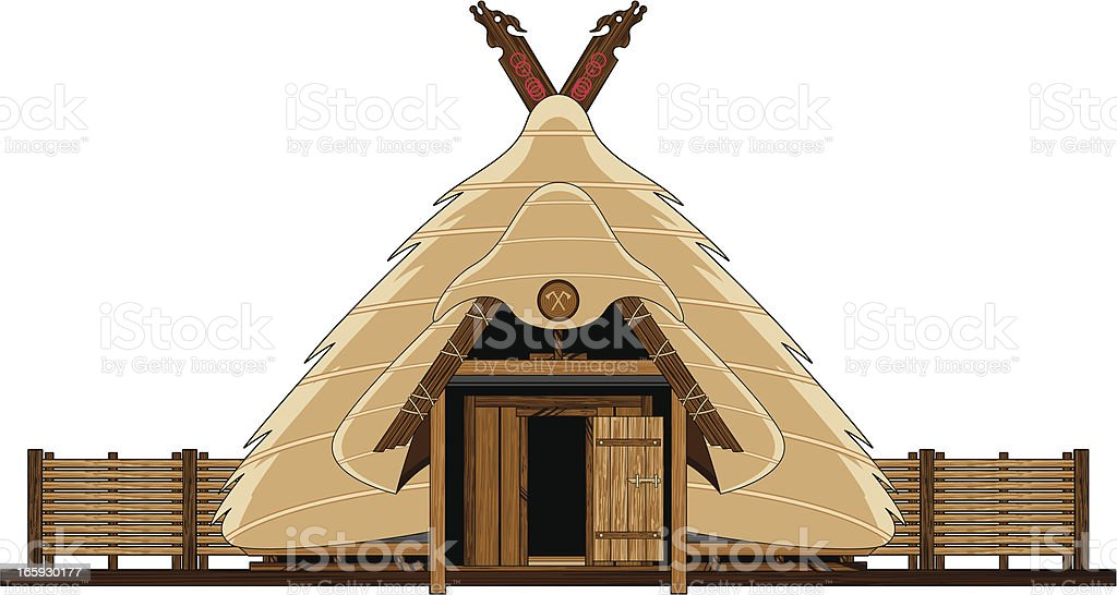 Vikings Thatched Roof Hut royalty-free stock vector art