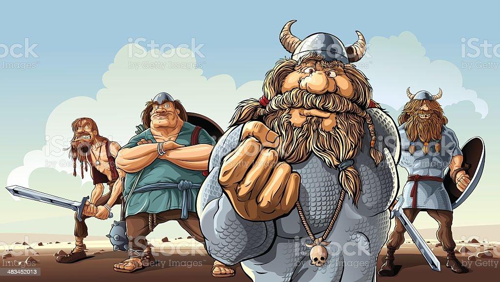 Vikings vector art illustration