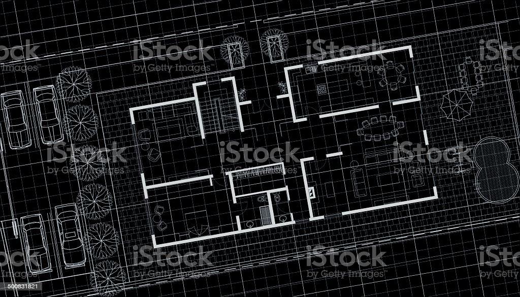 villa architectural plan on black background vector art illustration