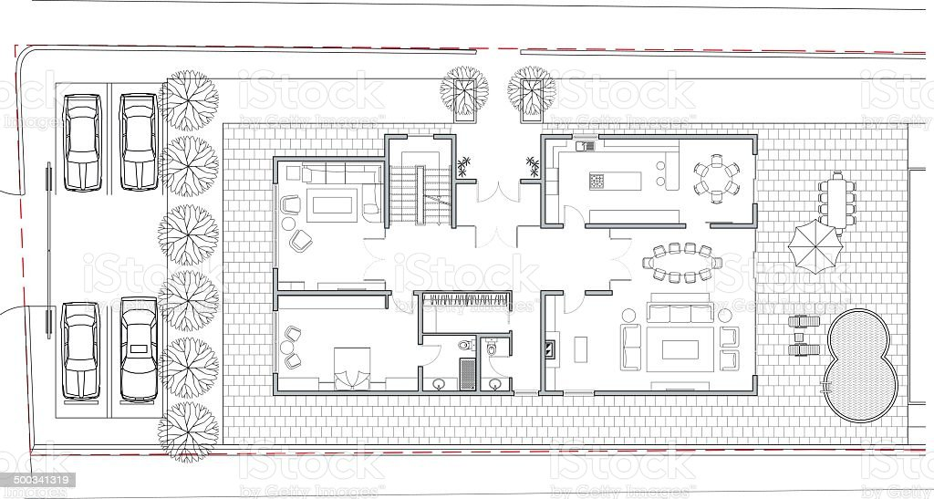 villa architectural plan vector art illustration