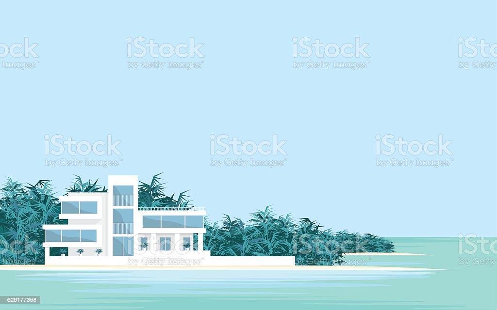 Villa on the beach vector art illustration