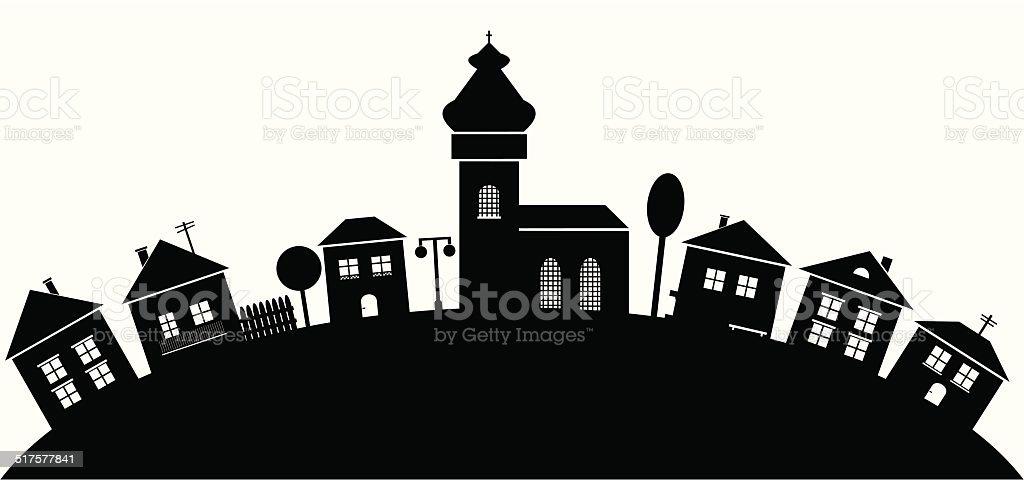 Village, black silhouette vector art illustration
