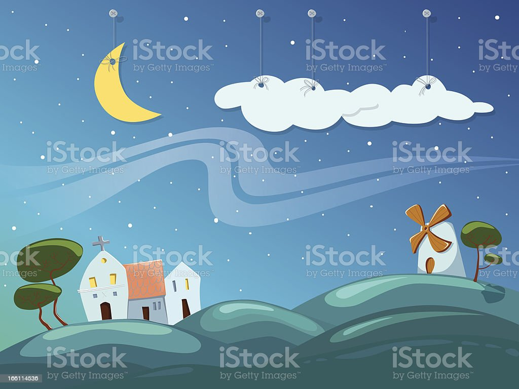 Village by night royalty-free stock vector art