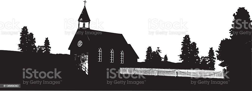 Village Church vector art illustration