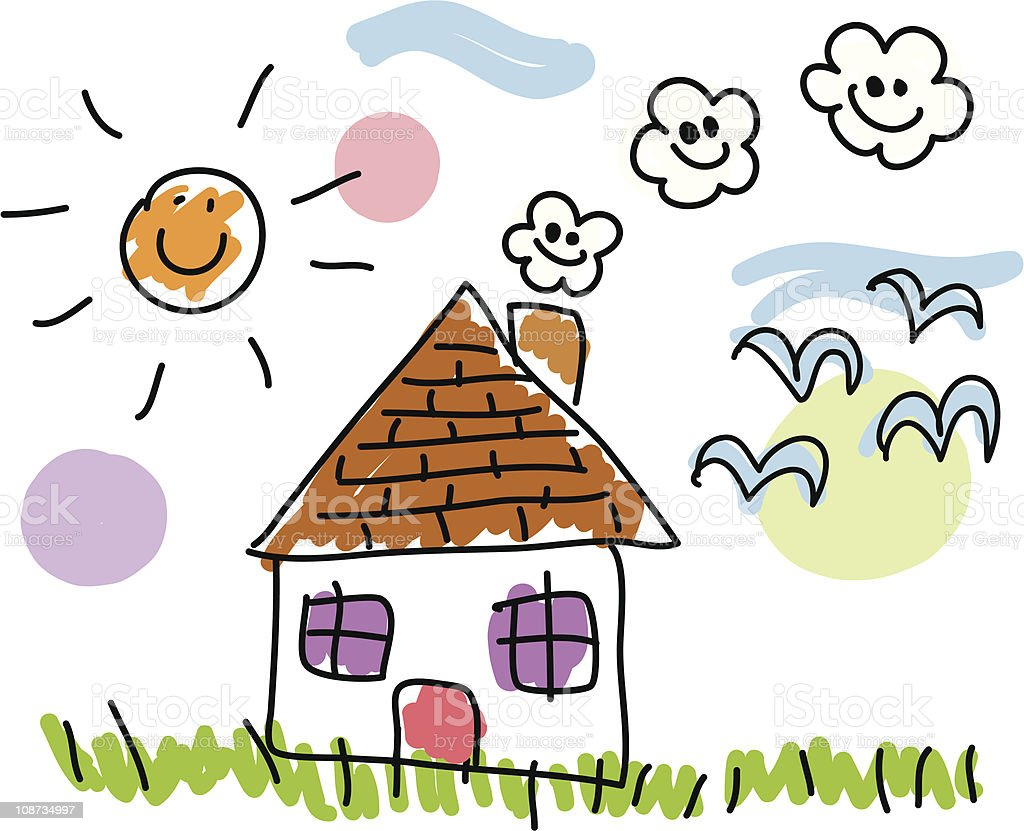 Village house and summer,spring nature doodle cartoon royalty-free stock vector art