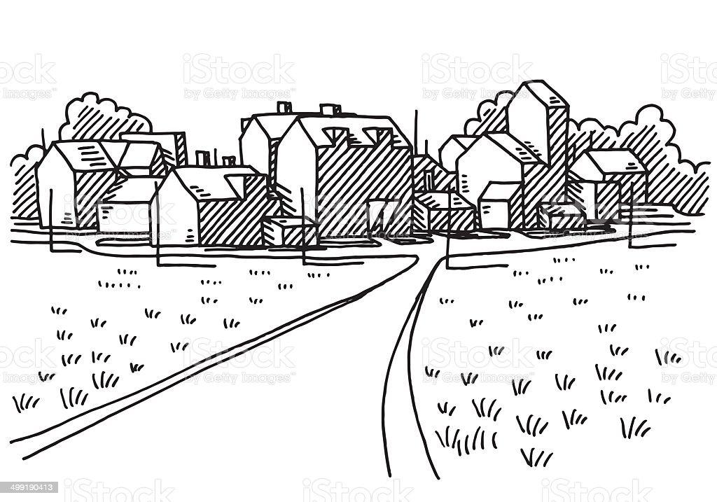 Village Landscape Road Drawing vector art illustration