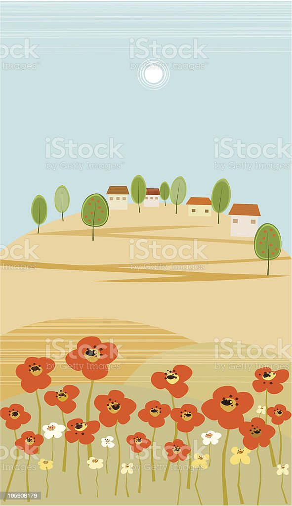 Village On Hill and Poppy Field royalty-free stock vector art