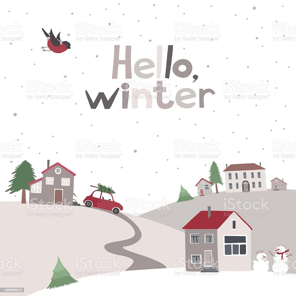 Village on the hill in winter time. vector art illustration