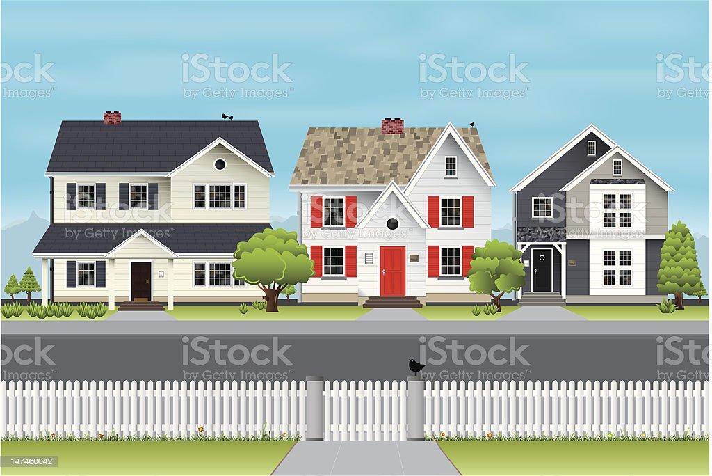 Village street scene vector art illustration