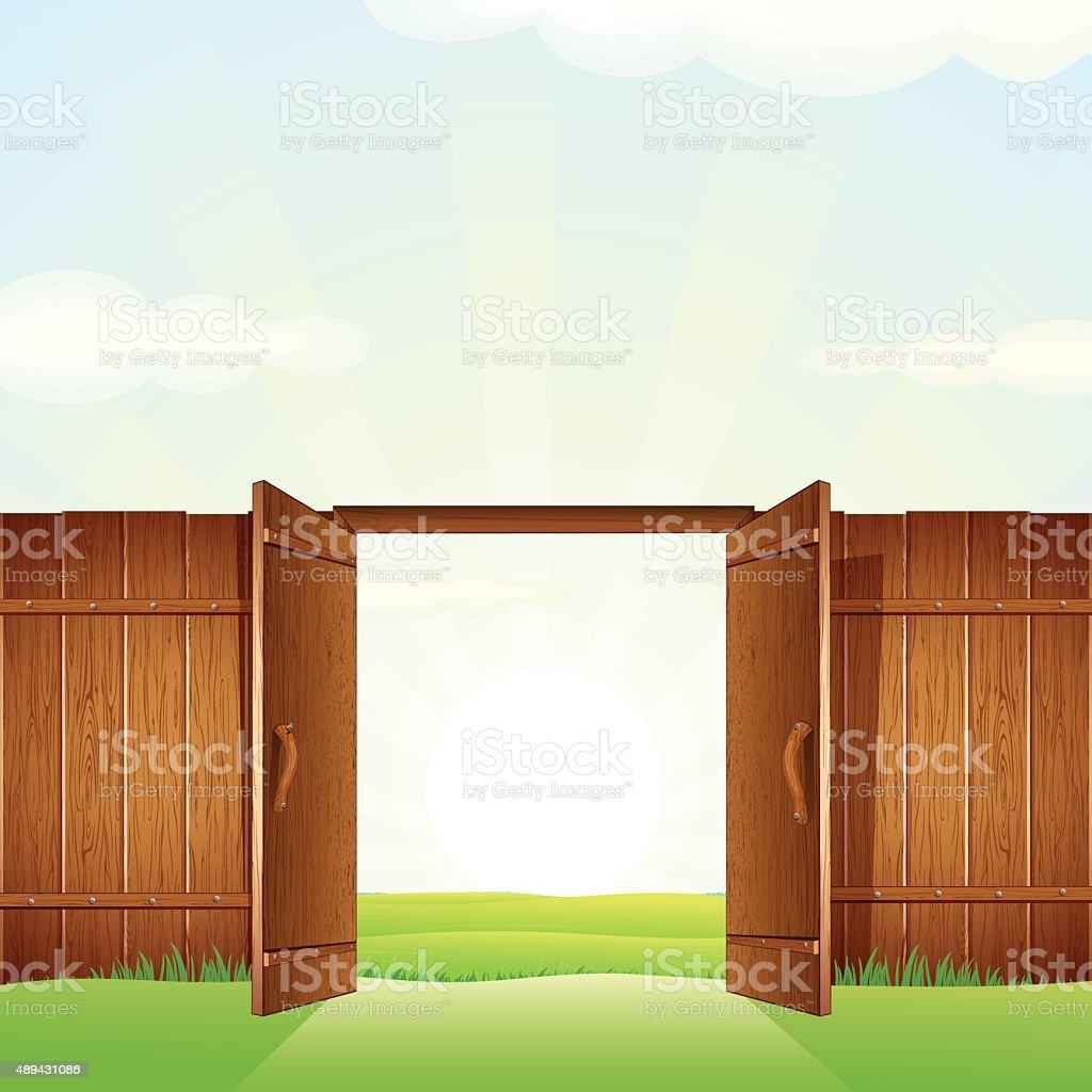 Village Timber Gate. Vector Image for your Design vector art illustration