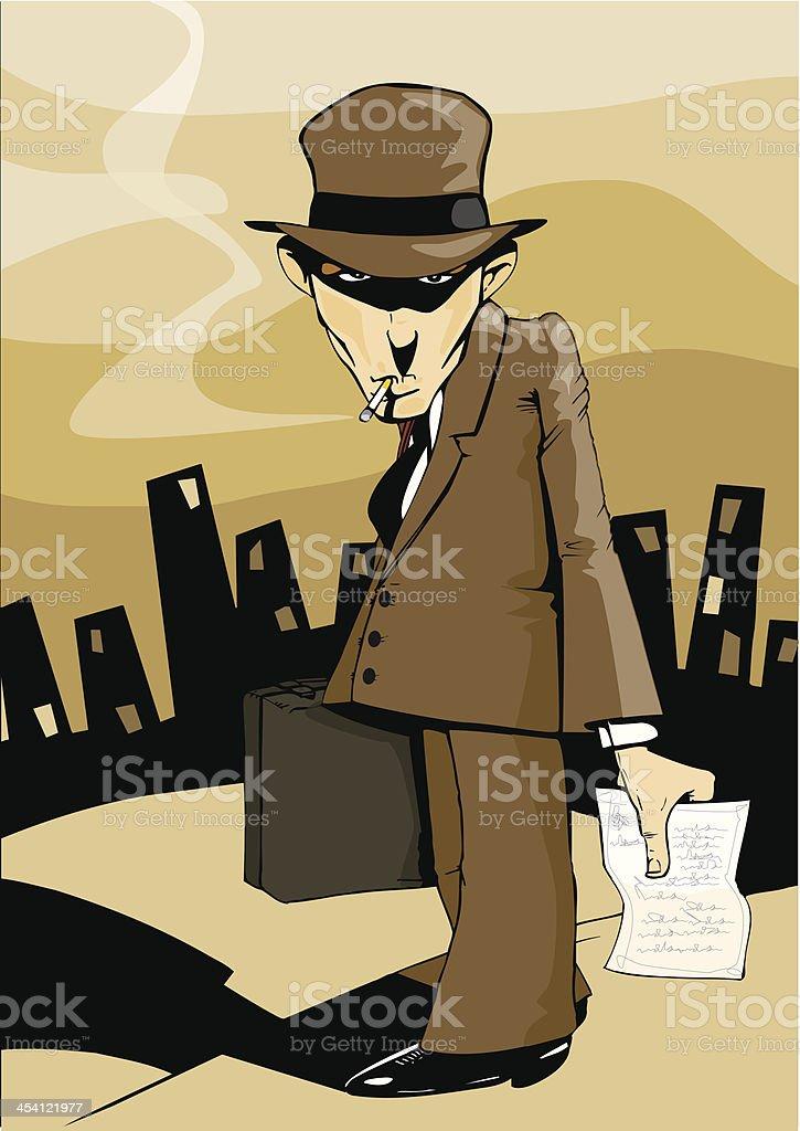Villain, gangster, criminal, murderer or tax inspector. Bad news. vector art illustration
