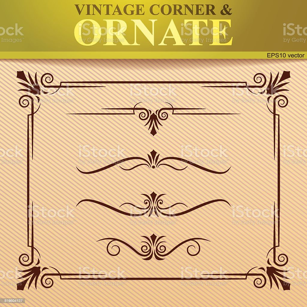 Vinatage corner and ornate royalty-free stock vector art