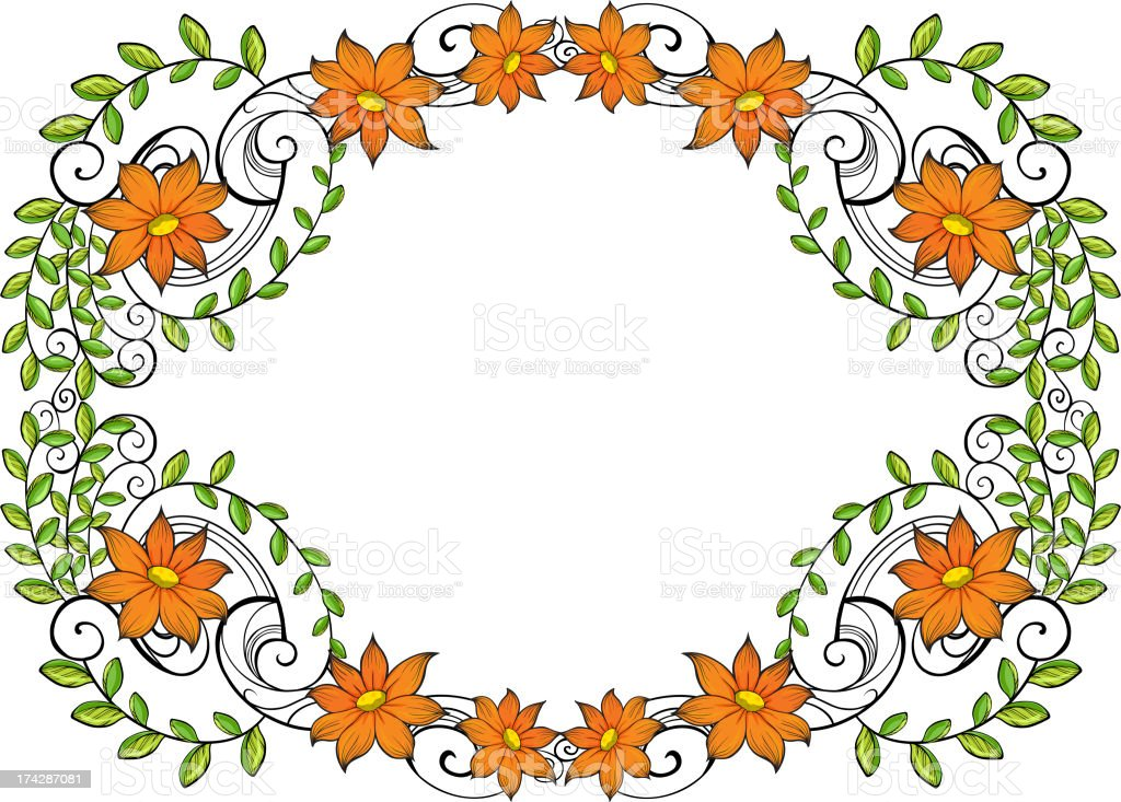 Vine with flowers royalty-free stock vector art