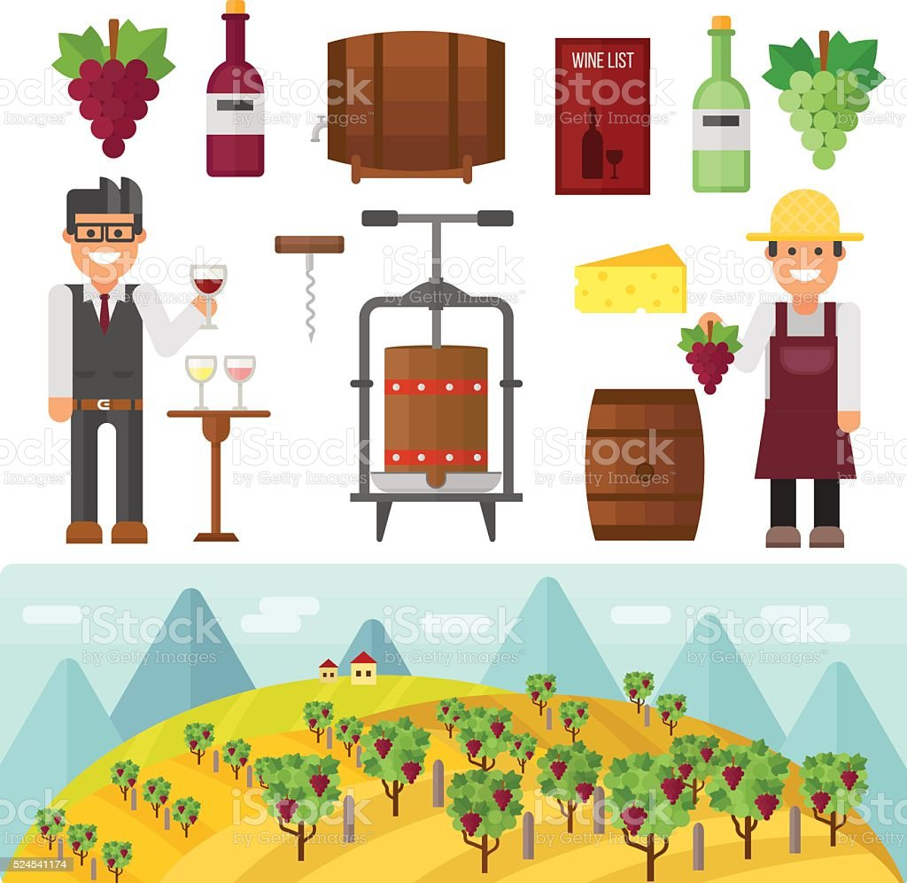 Vinery farm and vinery grape agriculture making vector vector art illustration