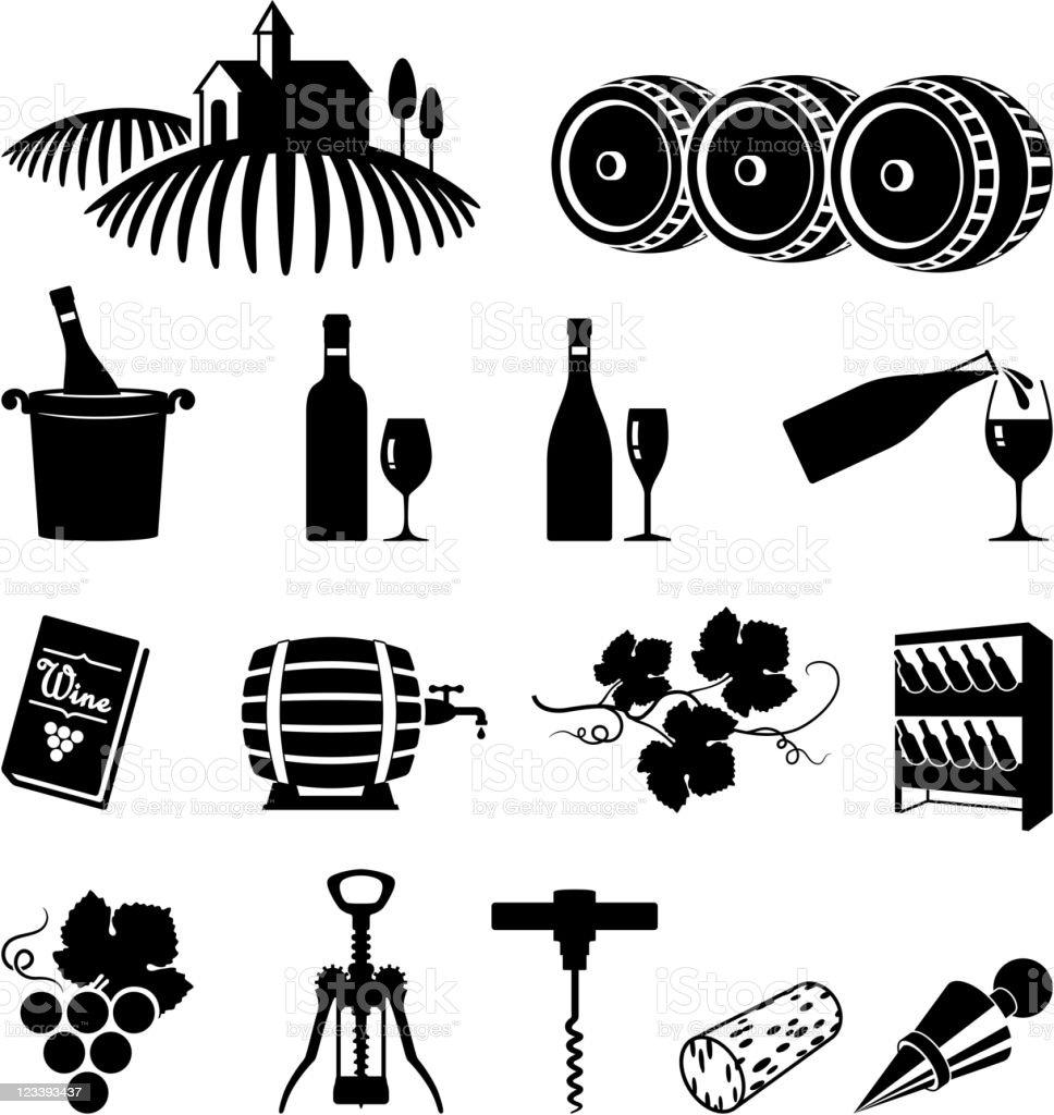 Vineyard and wine black & white vector icon set vector art illustration