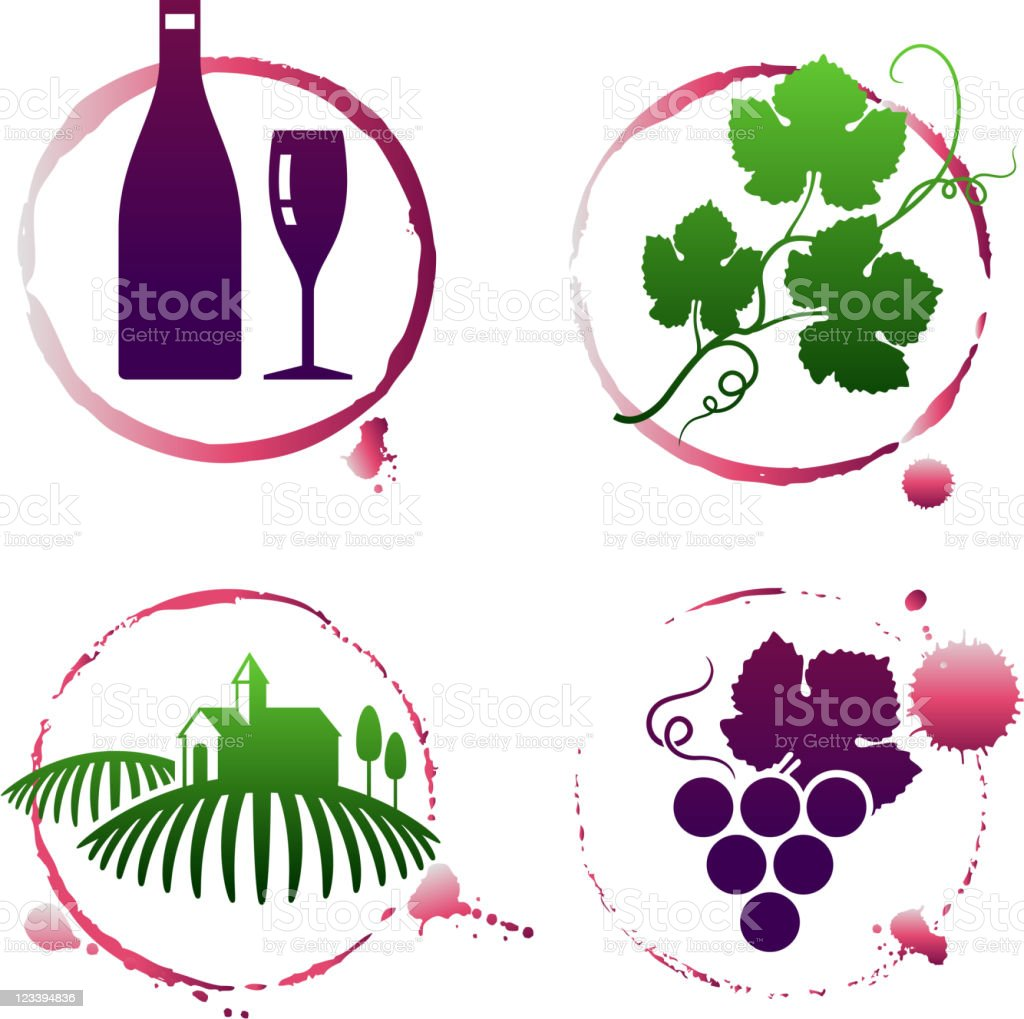 Vineyard and wine stain set royalty-free stock vector art