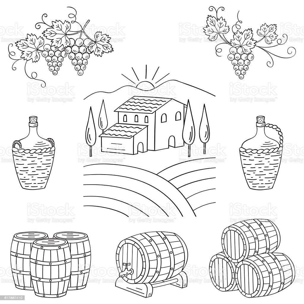 Vineyard farm village landscape vector illustration. vector art illustration