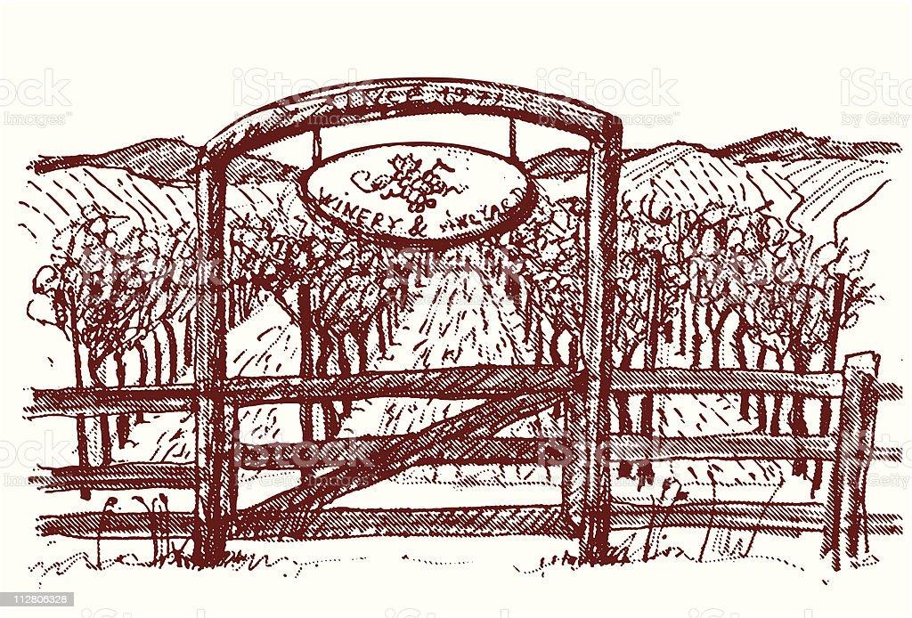 Vineyard gate royalty-free stock vector art