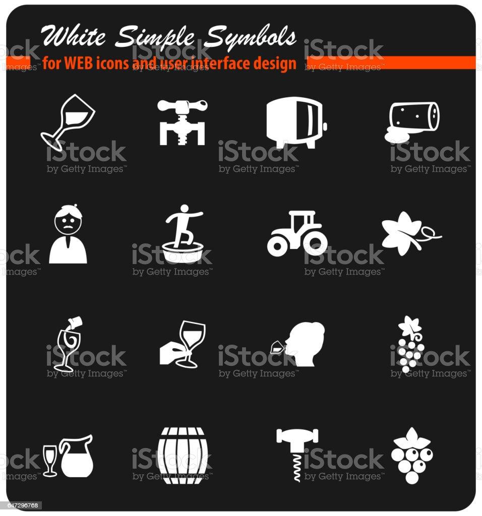 vineyard icon set vector art illustration