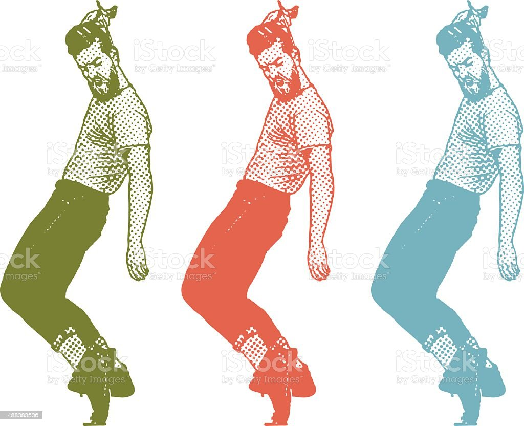 Vintage 1950's Young Man Dancing and Combing Hair vector art illustration