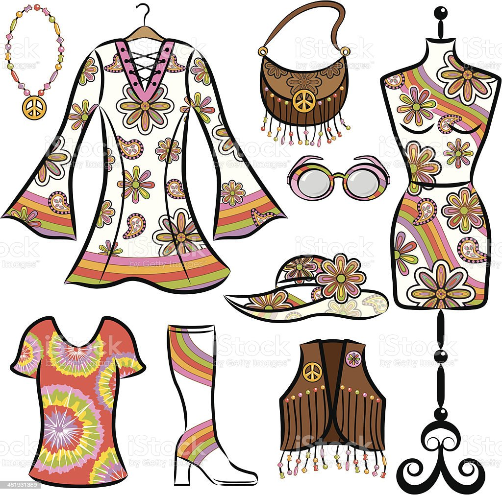 Vintage 1960's Clothing Set vector art illustration