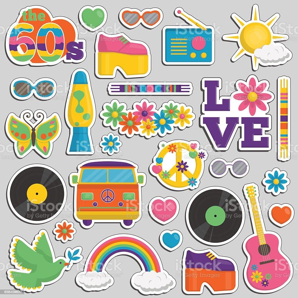 Vintage 1960s hippie style patch sticker set vector art illustration