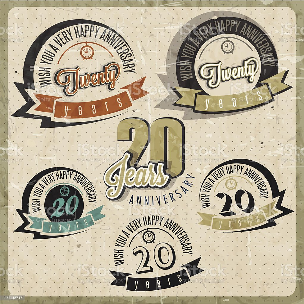 Vintage 20 anniversary collection. vector art illustration