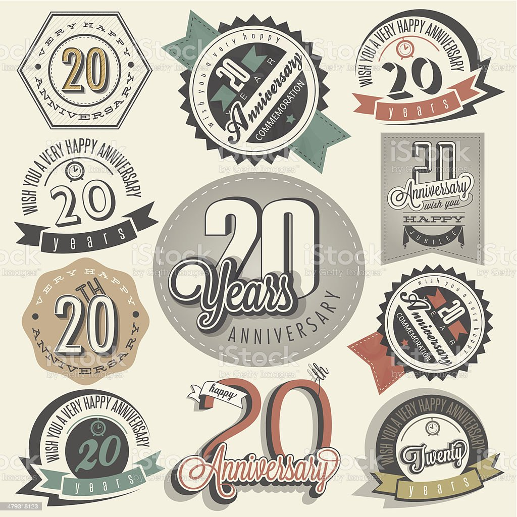 Vintage 20 anniversary collection vector art illustration