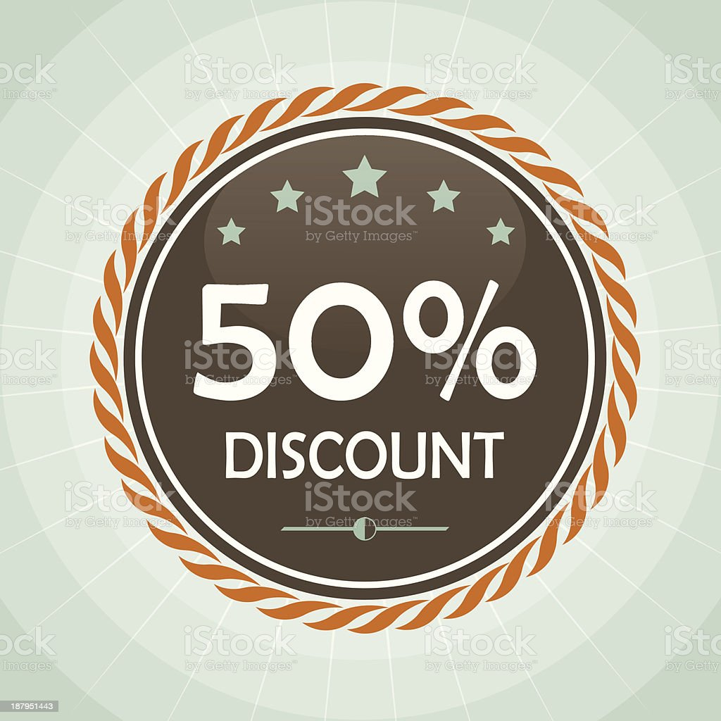 vintage 50 percent discount label royalty-free stock vector art