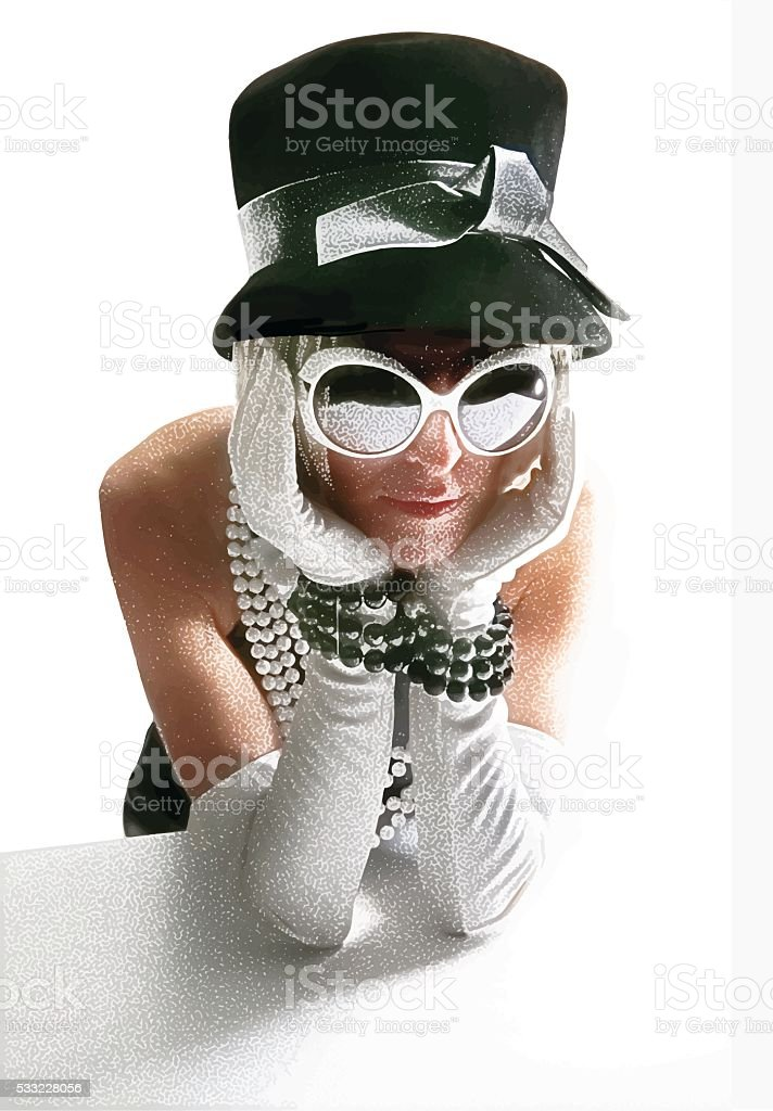 Vintage 60's Fashionista Woman with pouting expression stock photo