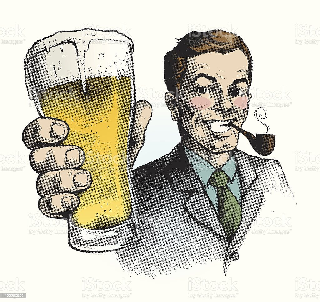 Vintage ad of smiling man smoking pipe and holding beer vector art illustration