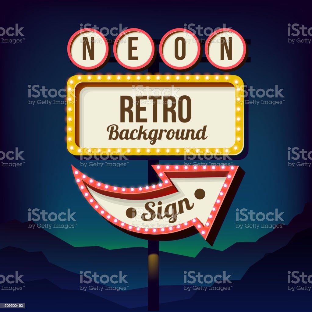 Vintage advertising road billboard with lights. Retro 3d sign vector art illustration