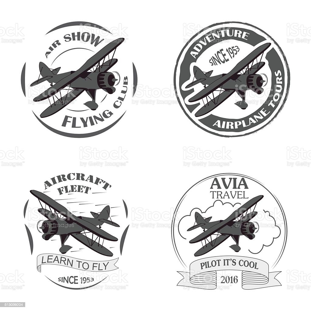 Vintage airplane emblems. vector art illustration