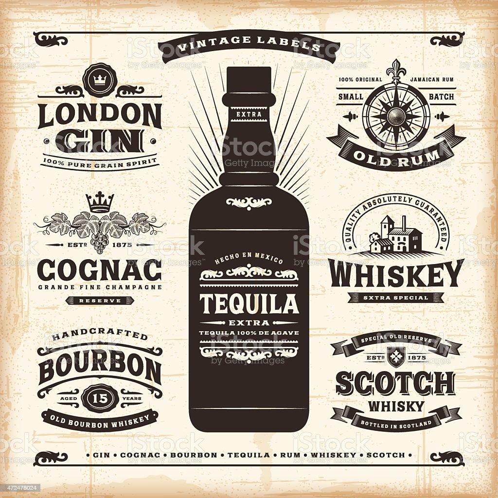 Vintage alcohol labels collection vector art illustration